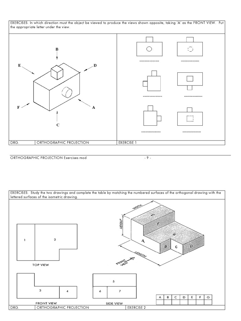 Orthographic Projection Exercises | Mathematical Analysis