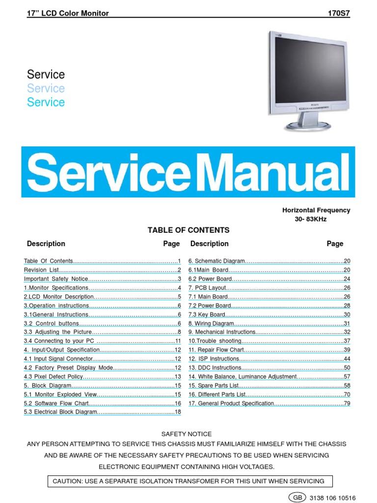 philips lcd monitor 170s7 service manual rh es scribd com