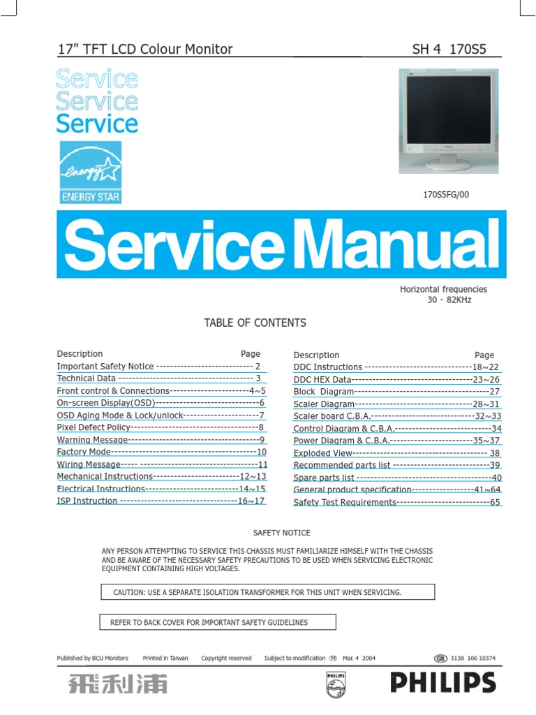 philips lcd monitor 170s5 chassis sh4 service manual pixel rh pt scribd com