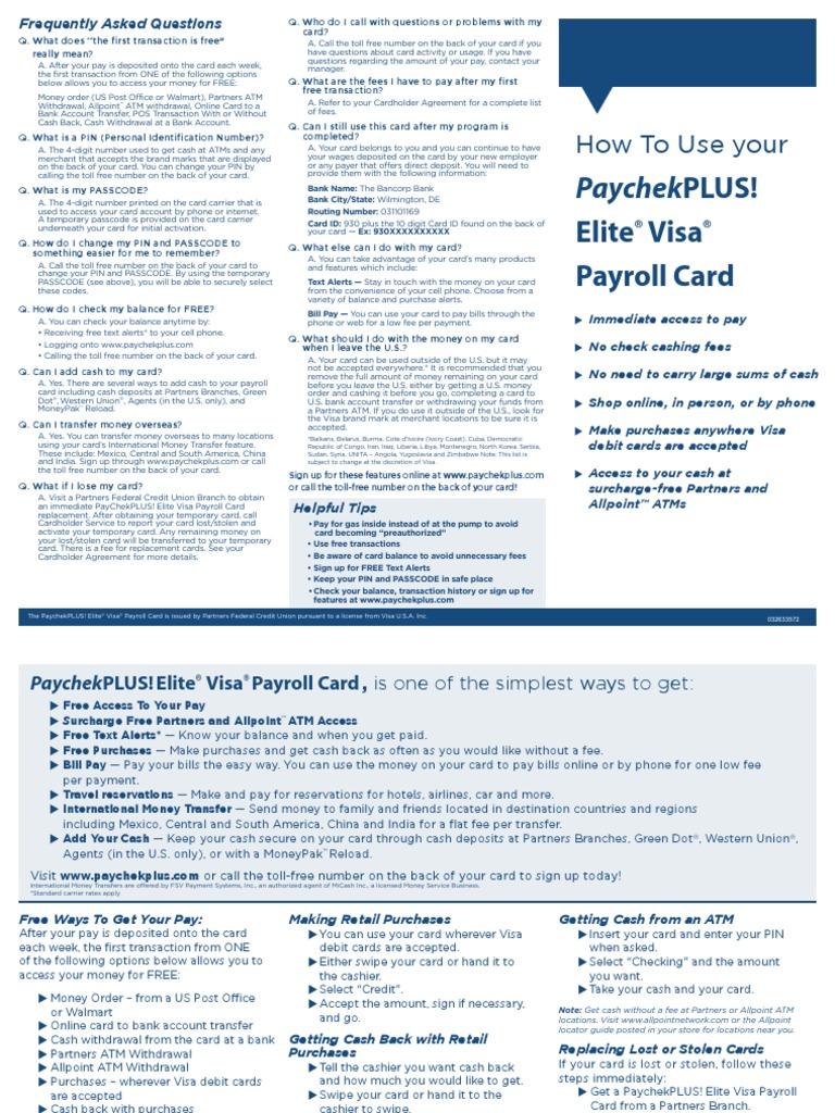 Paycheck Plus Elite Visa Payroll Card Infoupdate Org