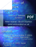 Evolution of Complex Systems - Lecture 2