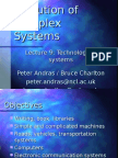 Evolution of Complex Systems - Lecture 9
