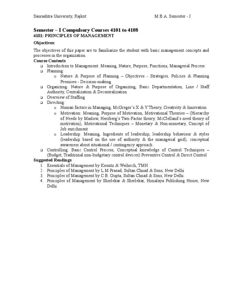 MBA 1st Sem Syllabus With Books Names | Linux | Accounting