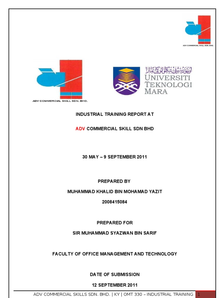 uitm unikop omt 330 industrial training report