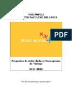 Proyecto Facultad Vox Populi- Plan de Gobierno 2011-2012
