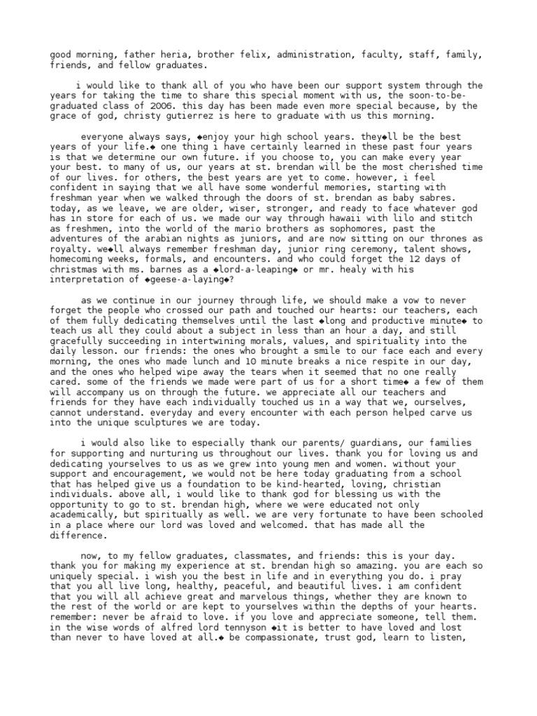 Salutatorian Speech 2006 – Salutatorian Speech Examples