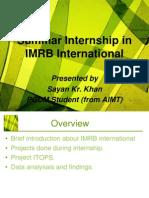 Summar Internship in IMRB International