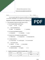 Teste Diagonostico CFQ 8Ano