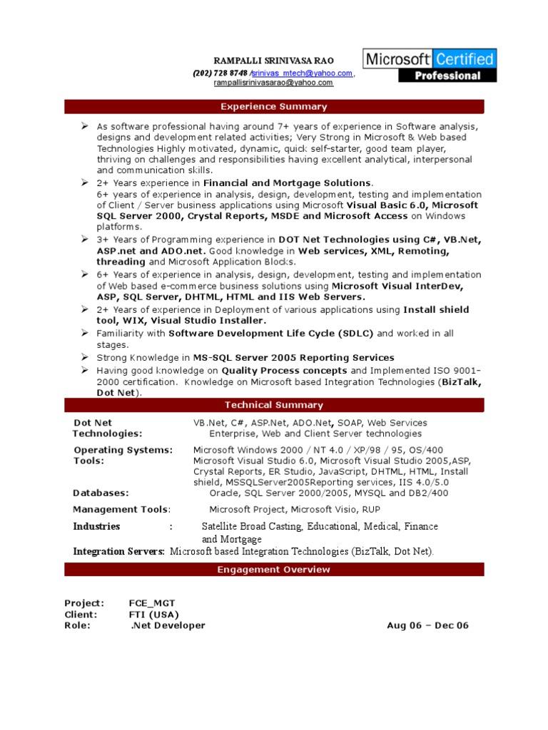 Resume Srinivas Dotnet Microsoft Sql Server Web Application