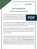 Nota Informativa - Recurso Hierárquico da Bolsa de Recrutamento; 2011.set.16