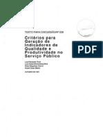 Criterios para geração de indicadores de qualidade e produtividade no serviço público