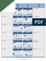 Copy of 2012 Calendar Portrait Vertical With Notes V1.4