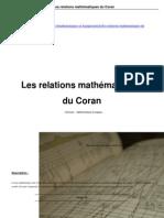 Relations Mathematique Coran