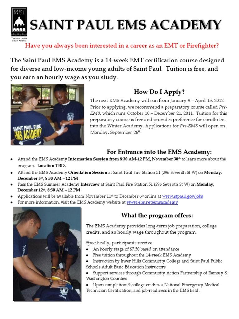 Ems Academy Flyer Winter 2012 Emergency Medical Technician