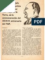 Discurso Víctor Raúl Haya de la Torre por el 39 Aniversario del Partido Aprista Peruano