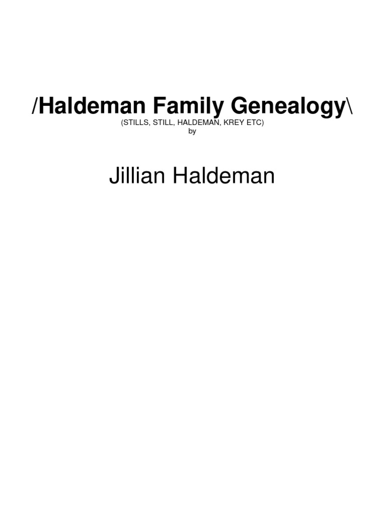Haldeman Family Genealogy