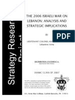 The 2006 Israeli War on Lebanon Analysis and Strategic Implications 1