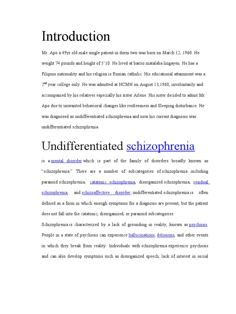 case study of schizophrenia scribd