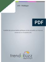 Visibilité des personnalités politiques et des actualités sur Internet - du 12 au 18 septembre 2011