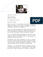 September 18, 2011 Letter to Mayor Walkup