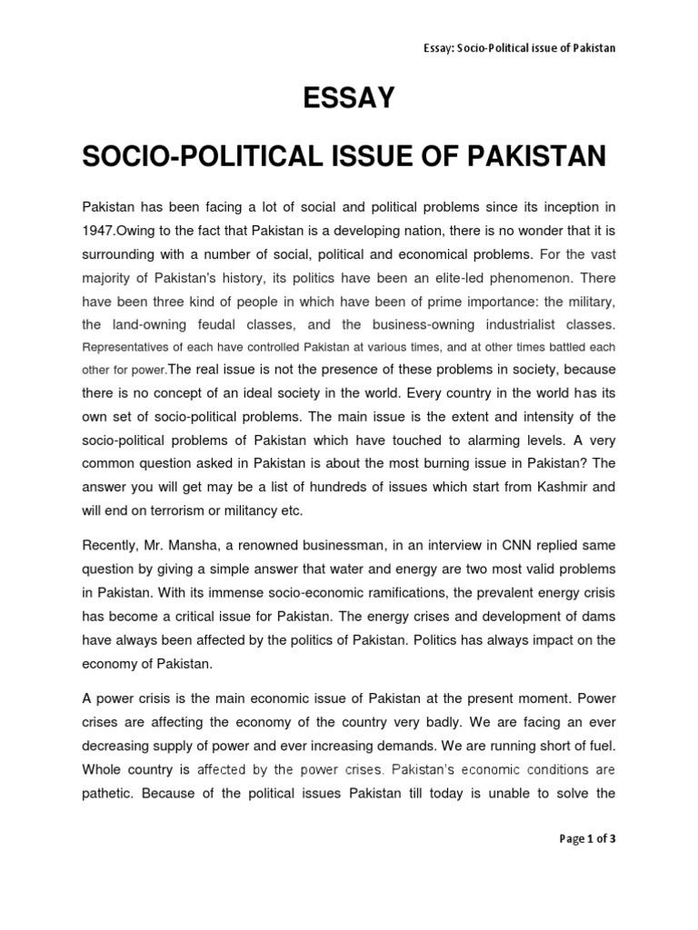 essay on politics of pakistan