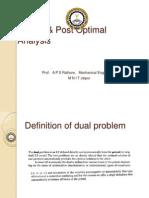 Duality & Post Optimal Analysis