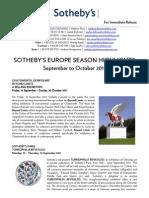 Sotheby's Europe Season Highlights EUR Sep-Oct 2011