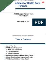 DHCF FY12 BRT Presentation Final