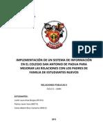 Implementación de Sistema de Información para Col. San Antonio