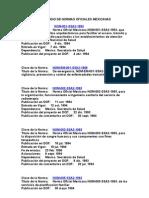 Normas Mexicanas de La Secretaria de Salud