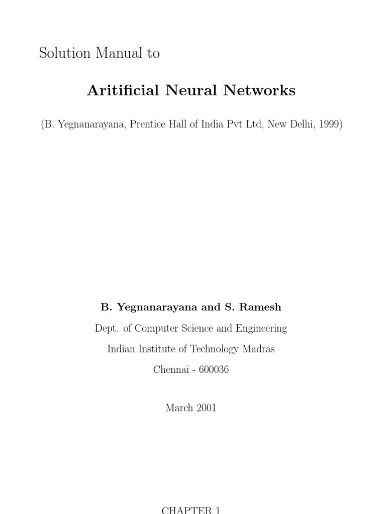 Artificial Neural Network By B Yegnanarayana Pdf