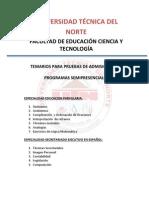 Temarios Pruebas Admision Fecyt Semipresencial