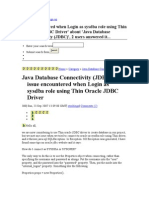 As Sysdba Connection From Java