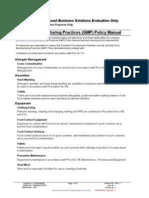 Gmp Policy Manual Warehouse Hygiene
