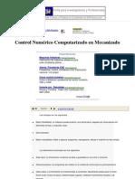 Control Numérico Computarizado en Mecanizado