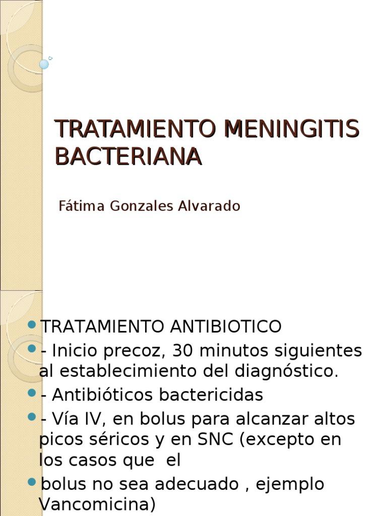tratamiento antibiotico meningitis meningococica