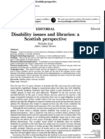 Disability Issues and Libraries a Scottish Perspective