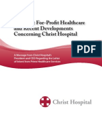 Christ Hospital Brochure on Possible Prime Healthcare Takeover