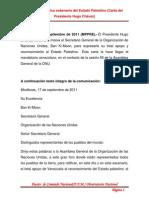 Venezuela ratifica soberanía del Estado Palestino (Carta del Presidente Hugo Chávez)