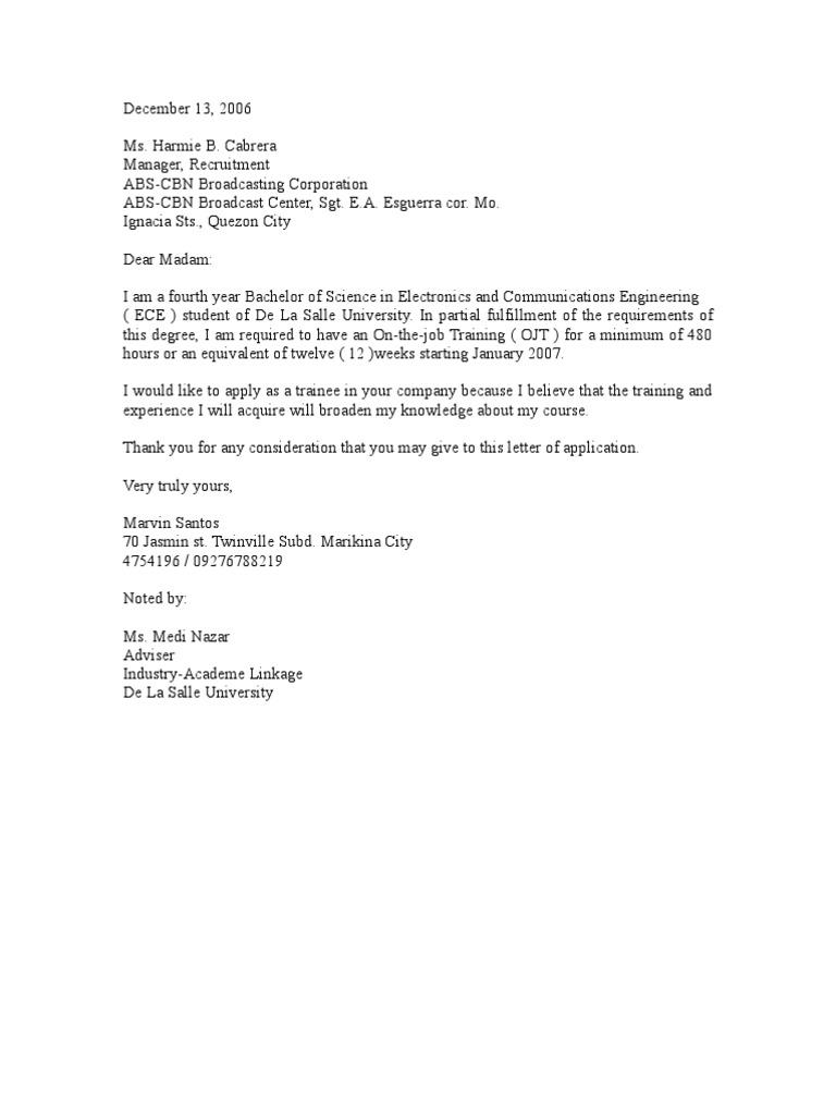 Application Letter For Ece Ojt - Application letter for ojt ...