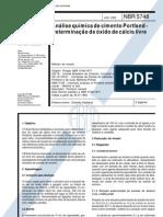 NBR 5748 - Analise Quimica de Cimento Portland - Determinacao de Oxido de Calcio Livre