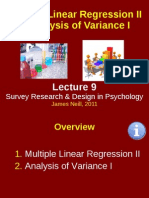 Multiple Linear Regression II & Analysis of Variance I