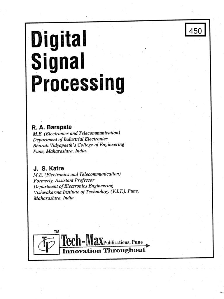 Digital Signal Processing By Js Katre Tech Max Electronic Circuits Salivahanan Pdf