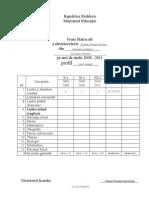 Foaie Matricola Model