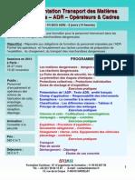 Formation Continue Réglementation Transport Matières Dangereuse ADR Opérateurs Cadres 2012
