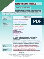 Formation Continue Spectrométrie UV Visible Pratique 2012