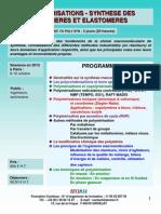 Formation Continue Synthèse Des Polymères Et Elastomères 2012