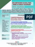 Formation Continue Validation Des Méthodes d'Analyses 2012