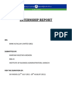 Bank Alfalah Internship Report