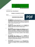 Dewan Rakyat Order Paper June 2006